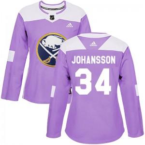 Jonas Johansson Buffalo Sabres Women's Adidas Authentic Purple Fights Cancer Practice Jersey