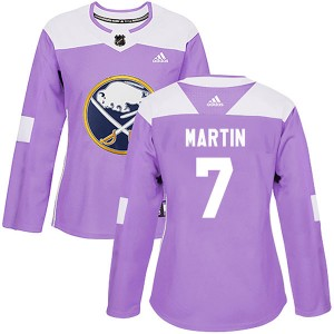 Rick Martin Buffalo Sabres Women's Adidas Authentic Purple Fights Cancer Practice Jersey