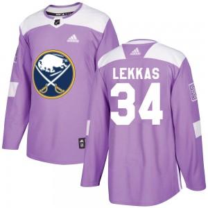 Stefanos Lekkas Buffalo Sabres Men's Adidas Authentic Purple Fights Cancer Practice Jersey