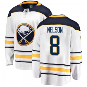Casey Nelson Buffalo Sabres Men's Fanatics Branded White Breakaway Away Jersey