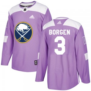 Will Borgen Buffalo Sabres Youth Adidas Authentic Purple Fights Cancer Practice Jersey