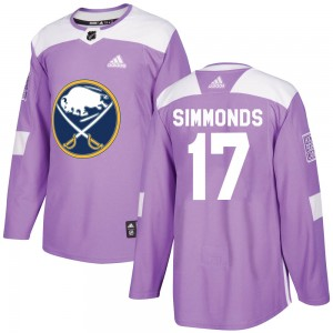Wayne Simmonds Buffalo Sabres Youth Adidas Authentic Purple ized Fights Cancer Practice Jersey