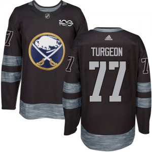 Pierre Turgeon Buffalo Sabres Men's Adidas Authentic Black 1917-2017 100th Anniversary Jersey