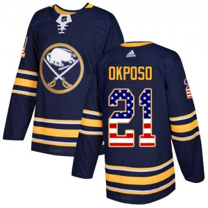 Kyle Okposo Buffalo Sabres Youth Adidas Authentic Navy Blue USA Flag Fashion Jersey