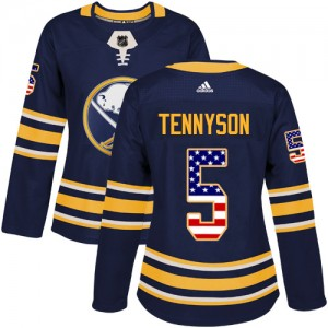 Matt Tennyson Buffalo Sabres Women's Adidas Authentic Navy Blue USA Flag Fashion Jersey
