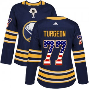 Pierre Turgeon Buffalo Sabres Women's Adidas Authentic Navy Blue USA Flag Fashion Jersey