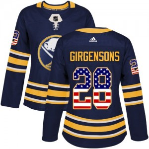 Zemgus Girgensons Buffalo Sabres Women's Adidas Authentic Navy Blue USA Flag Fashion Jersey