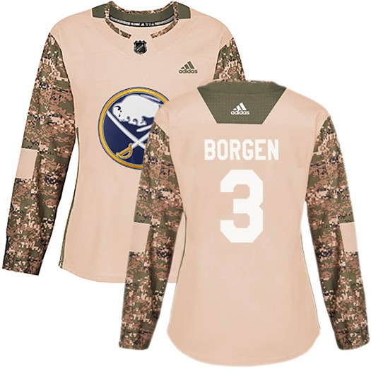 Will Borgen Buffalo Sabres Women's Adidas Authentic Camo Veterans Day Practice Jersey