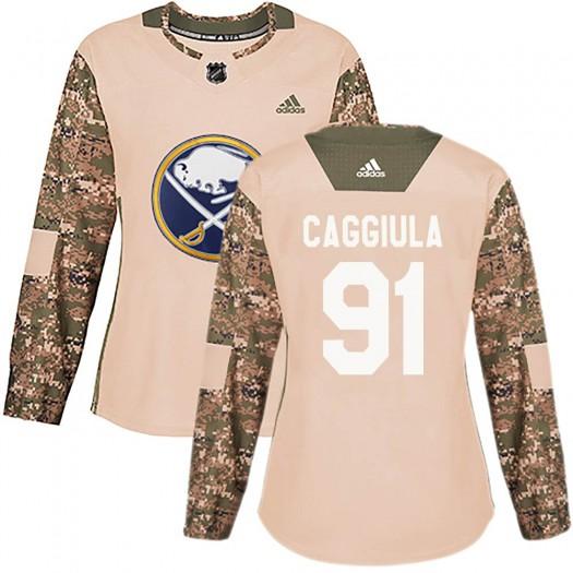 Drake Caggiula Buffalo Sabres Women's Adidas Authentic Camo Veterans Day Practice Jersey