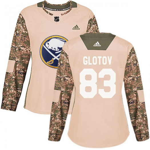 Vasily Glotov Buffalo Sabres Women's Adidas Authentic Camo Veterans Day Practice Jersey