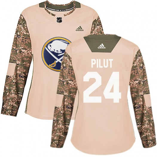 Lawrence Pilut Buffalo Sabres Women's Adidas Authentic Camo Veterans Day Practice Jersey