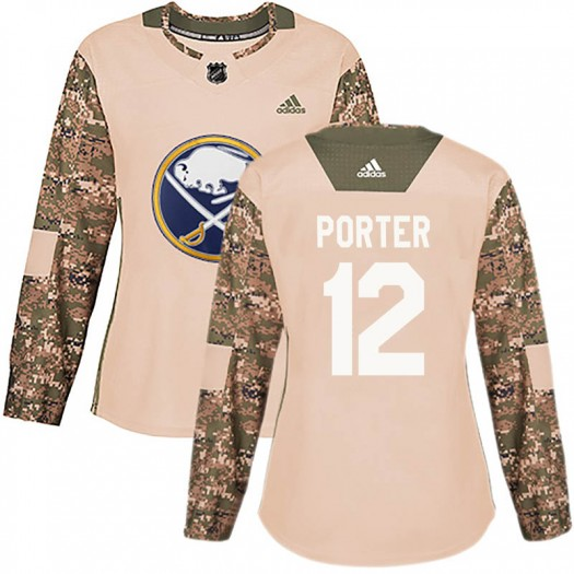 Kevin Porter Buffalo Sabres Women's Adidas Authentic Camo Veterans Day Practice Jersey