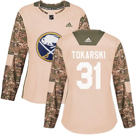 Dustin Tokarski Buffalo Sabres Women's Adidas Authentic Camo Veterans Day Practice Jersey