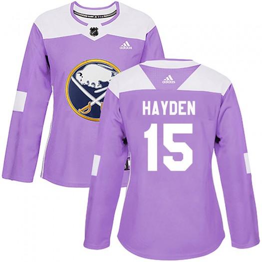 John Hayden Buffalo Sabres Women's Adidas Authentic Purple Fights Cancer Practice Jersey