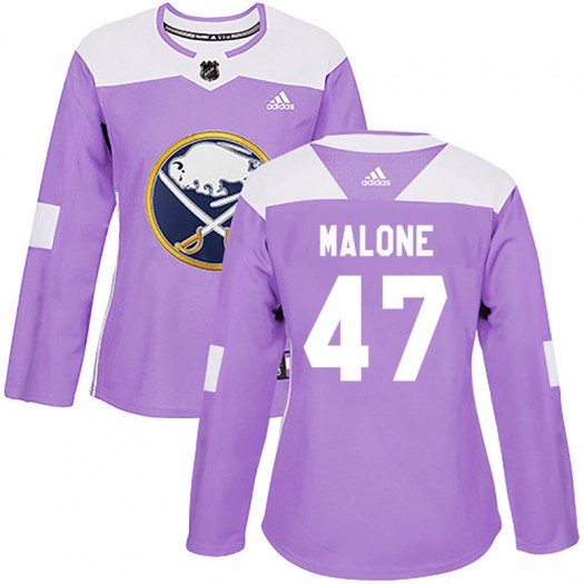 Sean Malone Buffalo Sabres Women's Adidas Authentic Purple Fights Cancer Practice Jersey