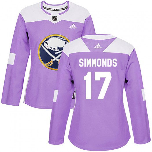 Wayne Simmonds Buffalo Sabres Women's Adidas Authentic Purple ized Fights Cancer Practice Jersey