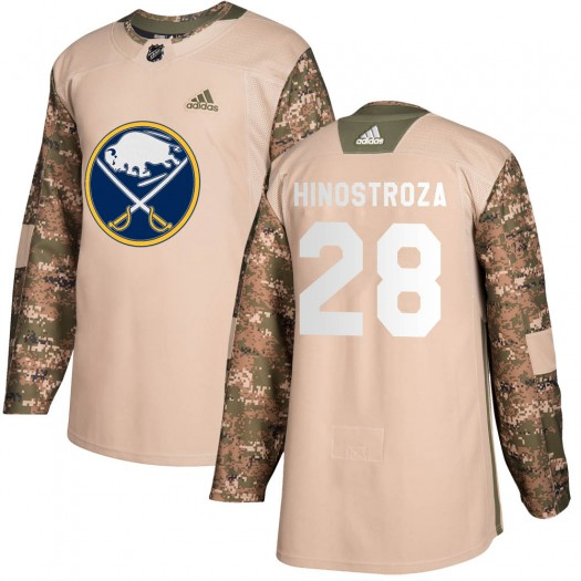 Vinnie Hinostroza Buffalo Sabres Men's Adidas Authentic Camo Veterans Day Practice Jersey