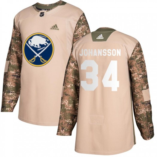 Jonas Johansson Buffalo Sabres Men's Adidas Authentic Camo Veterans Day Practice Jersey