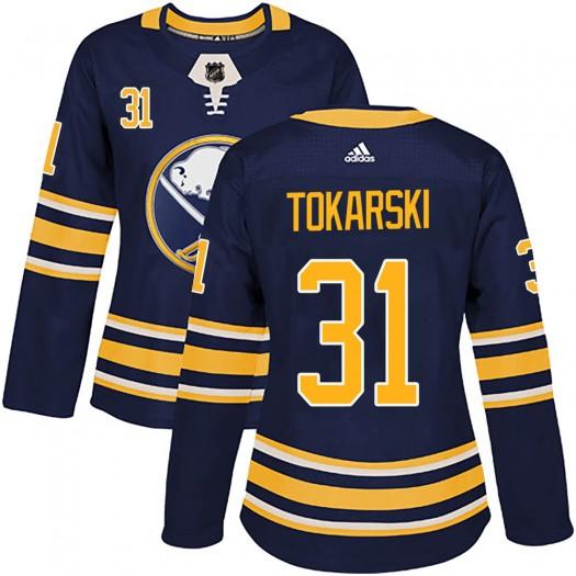 Dustin Tokarski Buffalo Sabres Women's Adidas Authentic Navy Home Jersey