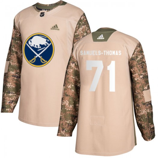 Jordan Samuels-Thomas Buffalo Sabres Youth Adidas Authentic Camo Veterans Day Practice Jersey