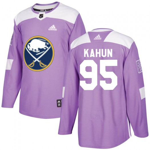 Dominik Kahun Buffalo Sabres Men's Adidas Authentic Purple ized Fights Cancer Practice Jersey