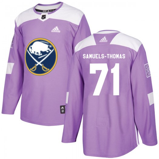 Jordan Samuels-Thomas Buffalo Sabres Men's Adidas Authentic Purple Fights Cancer Practice Jersey