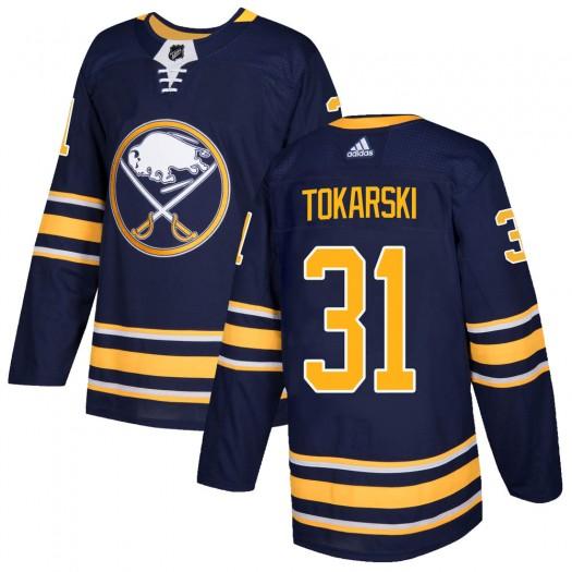 Dustin Tokarski Buffalo Sabres Men's Adidas Authentic Navy Home Jersey