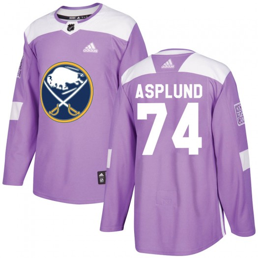Rasmus Asplund Buffalo Sabres Youth Adidas Authentic Purple Fights Cancer Practice Jersey
