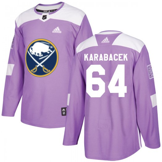 Vaclav Karabacek Buffalo Sabres Youth Adidas Authentic Purple Fights Cancer Practice Jersey