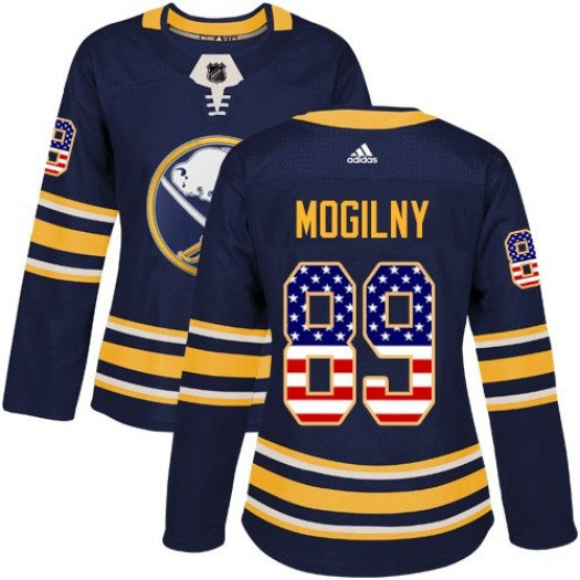 Alexander Mogilny Buffalo Sabres Women's Adidas Authentic Navy Blue USA Flag Fashion Jersey