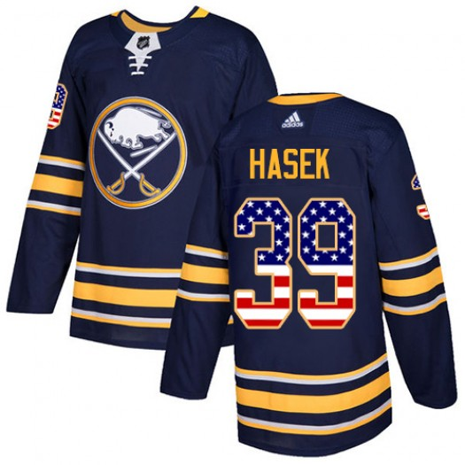Dominik Hasek Buffalo Sabres Youth Adidas Authentic Navy Blue USA Flag Fashion Jersey