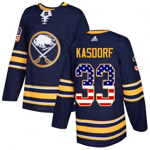 Jason Kasdorf Buffalo Sabres Men's Adidas Authentic Navy Blue USA Flag Fashion Jersey