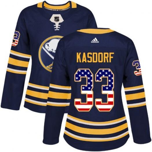 Jason Kasdorf Buffalo Sabres Women's Adidas Authentic Navy Blue USA Flag Fashion Jersey