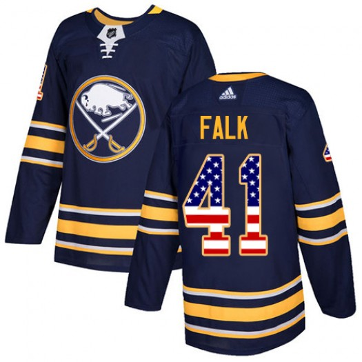 Justin Falk Buffalo Sabres Men's Adidas Authentic Navy Blue USA Flag Fashion Jersey
