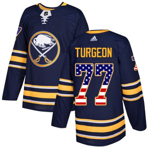 Pierre Turgeon Buffalo Sabres Youth Adidas Authentic Navy Blue USA Flag Fashion Jersey