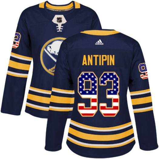 Victor Antipin Buffalo Sabres Women's Adidas Authentic Navy Blue USA Flag Fashion Jersey