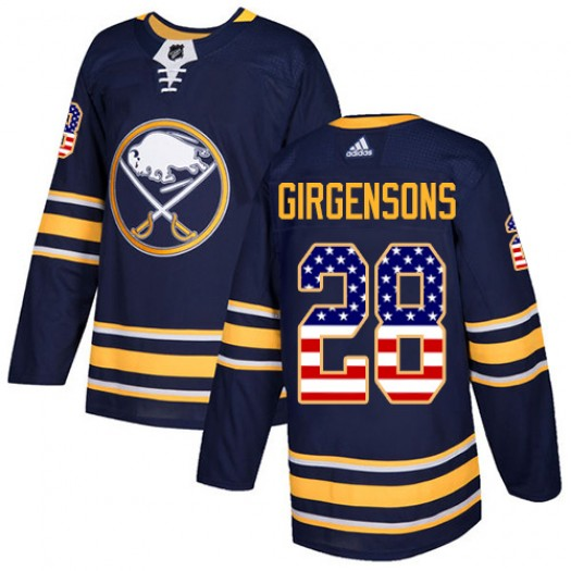 Zemgus Girgensons Buffalo Sabres Men's Adidas Authentic Navy Blue USA Flag Fashion Jersey